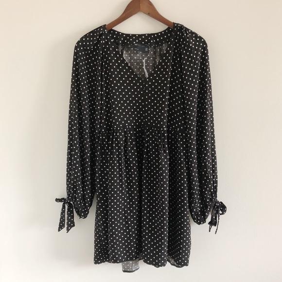 NWT ASOS Black Polka Dot Tie Sleeve V-Neck Dress 4